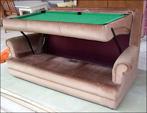 sofa and pool table