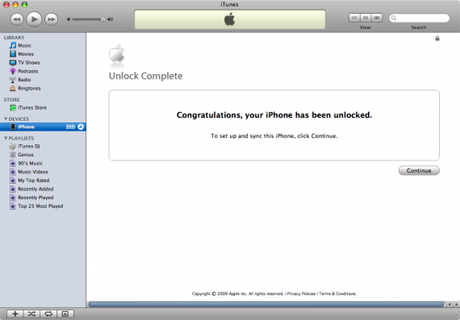 unlocked iphone itunes